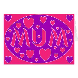 Cartão do dia das mães dos corações cor-de-rosa &