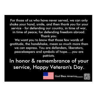 Cartão do dia de veterano cartão postal