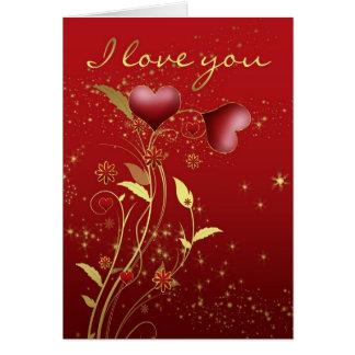 Cartão do dia dos namorados com corações e flores