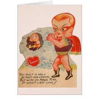 Cartão do dia dos namorados do super-herói do