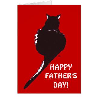 Cartão do dia dos pais do gato preto