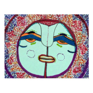 Cartão do Doodle da cara de lua Cartão Postal