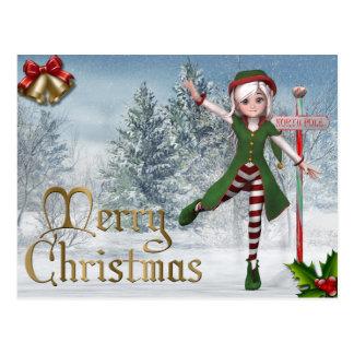 Cartão do duende de Sadie do Feliz Natal Cartão Postal