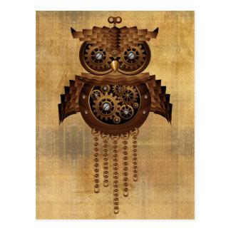 Cartão do estilo do vintage da coruja de Steampunk