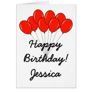 Cartão do feliz aniversario com balões vermelhos
