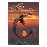 cartão do feliz aniversario da dança do por do sol