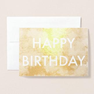 Cartão do feliz aniversario de folha de ouro