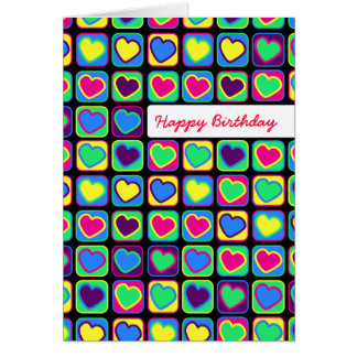Cartão do feliz aniversario dos corações do pop ar