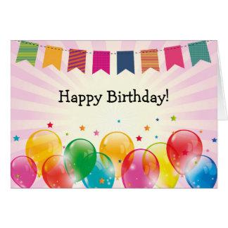 Cartão do feliz aniversario: Festão, balões e