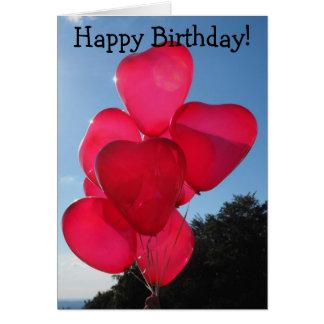 Cartão do feliz aniversario: Sete Coração-Balões