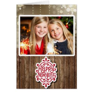 Cartão do feliz ano novo com sua foto