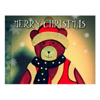 Cartão do Feliz Natal com um urso 2015 Cartão Postal