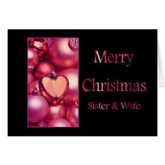 cartão do Feliz Natal da irmã e da esposa
