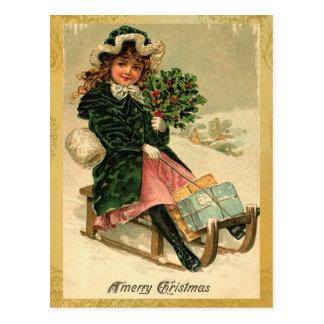 Cartão do Feliz Natal do vintage Cartão Postal