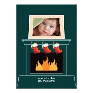 Cartão do feriado da foto da cornija de lareira convites