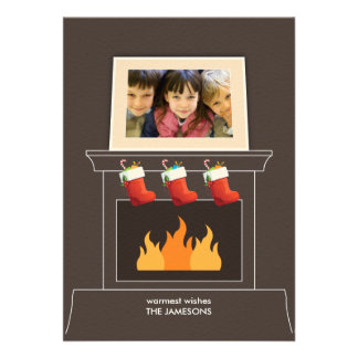 Cartão do feriado da foto da cornija de lareira convite