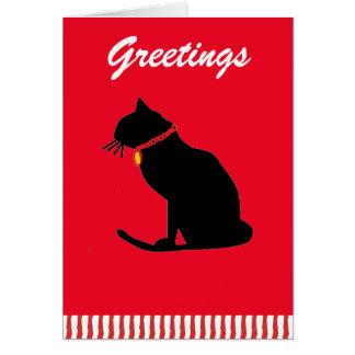 Cartão do feriado do gato preto dos cumprimentos