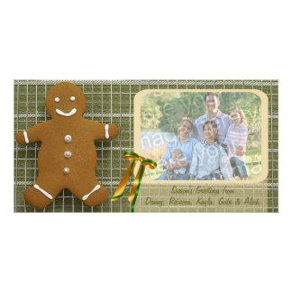 Cartão do feriado do homem de pão-de-espécie e da  cartoes com fotos
