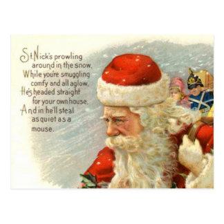 Cartão do feriado do poema do natal vintage do