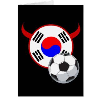 Cartão do futebol dos diabos vermelhos de Coreia