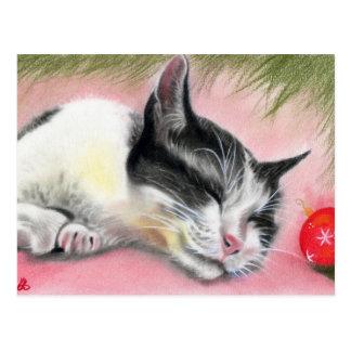 Cartão do gato do gatinho do Feliz Natal Cartão Postal