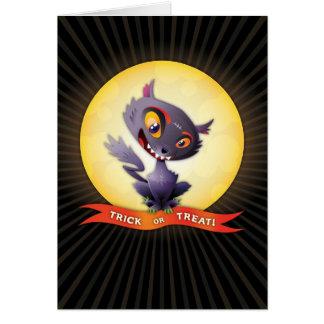 Cartão do gato preto do Dia das Bruxas