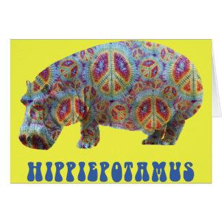 Cartão do Hippopotamus do hippy do Hippie da paz e