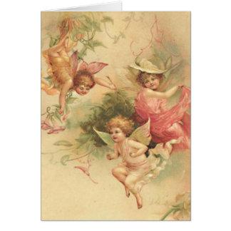 Cartão do impressão do anjo do vintage com dizer p