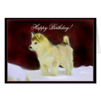 Cartão do Malamute do Alasca de feliz aniversario
