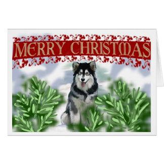 Cartão do Malamute do Alasca do Natal