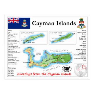Cartão do mapa de Cayman Islands