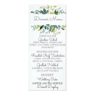 Cartão do menu do casamento do buquê das