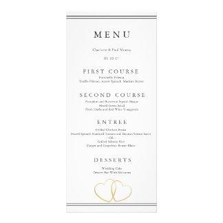 Cartão do menu do casamento do coração do ouro 10.16 x 22.86cm panfleto