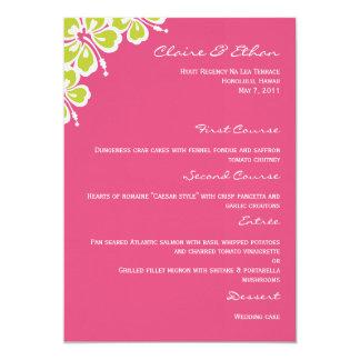 Cartão do menu do casamento do prazer do hibiscus convite 12.7 x 17.78cm
