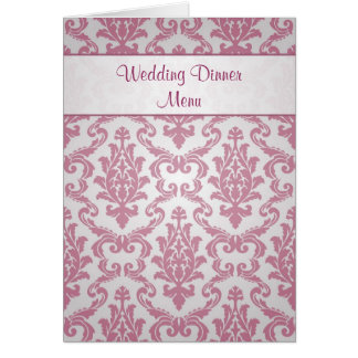 Cartão do menu do casamento - rosa escuro do