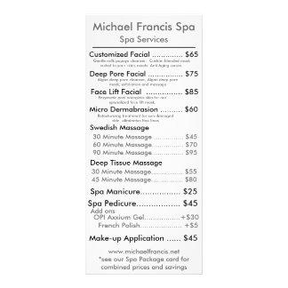 Cartão do menu do preço 10.16 x 22.86cm panfleto