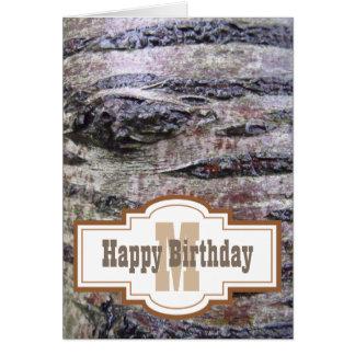 Cartão do monograma do feliz aniversario de latido