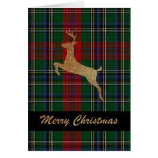 Cartão do Natal da xadrez de MacLean do veado do