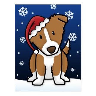 Cartão do Natal de Kawaii border collie (Brown) Cartões Postais