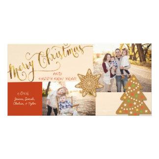 cartão do Natal do Biscoito-cortador Cartão Com Foto