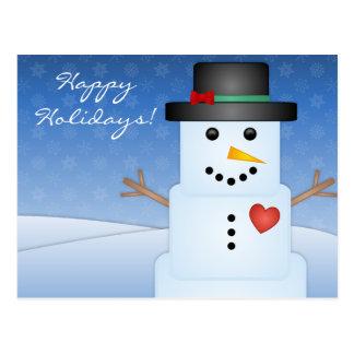 Cartão do Natal do boneco de neve do cubo de gelo Cartão Postal