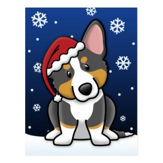 Cartão do Natal do Corgi de Galês do casaco de lã  Cartão Postal