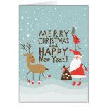 Cartão do Natal do cumprimento e do ano novo