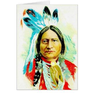 Cartão do nativo americano com assento Bull