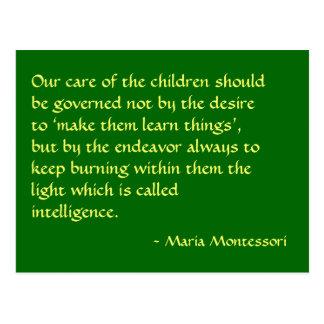 Cartão do no. 1 das citações de Maria Montessori