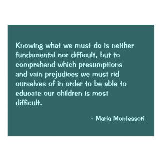 Cartão do no. 2 das citações de Maria Montessori