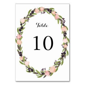 Cartão do número da mesa da grinalda do jardim
