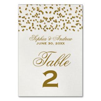 Cartão do número da mesa do casamento dos confetes