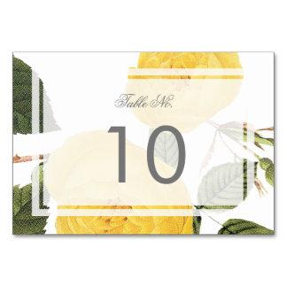 Cartão do número da mesa do jardim de rosas do