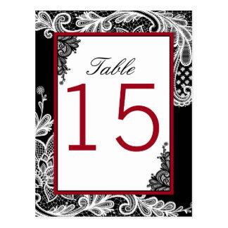 Cartão do número da mesa do laço do gótico cartão postal